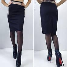 Черная юбка с бежевыми вставками