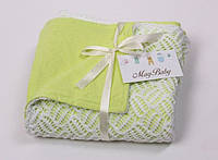 Ажурный вязанный плед салатовый на хлопковой основе для новорожденного (90*80 см) ТМ MagBaby Разноцв. 101904