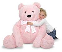 Большой плюшевый мишка, розовый, 76см х 69см. Melissa & Doug (MD3980). Мягкая игрушка.