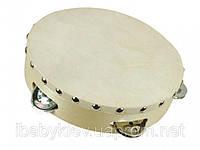 Бубен с 5 звоночками, диаметр 20 см. Детский деревянный музыкальный инструмент. (ТМ Bino 86552)