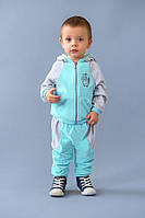 Велюровый костюм для мальчика 9 мес. - 2 лет, р. 74-86  ТМ Модный карапуз Бирюзовый/серый 03-00447-0