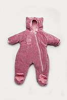 """Велюровый утепленный комбинезон """"Kitty"""" для девочки 2-9 месяцев ТМ Модный карапуз Розовый 03-00614-1"""