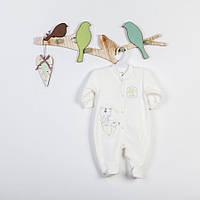 Велюровый человечек-комбинезон с вышивкой для девочки р. 68 ТМ  Фламинго белый с розовым 501-512
