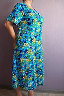 Женский халат хлопковый на пуговицах цвет голубой