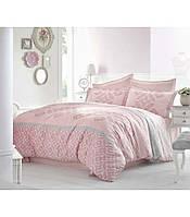 Комплект постельного белья сатин размер евро Altinbasak Alona pembe