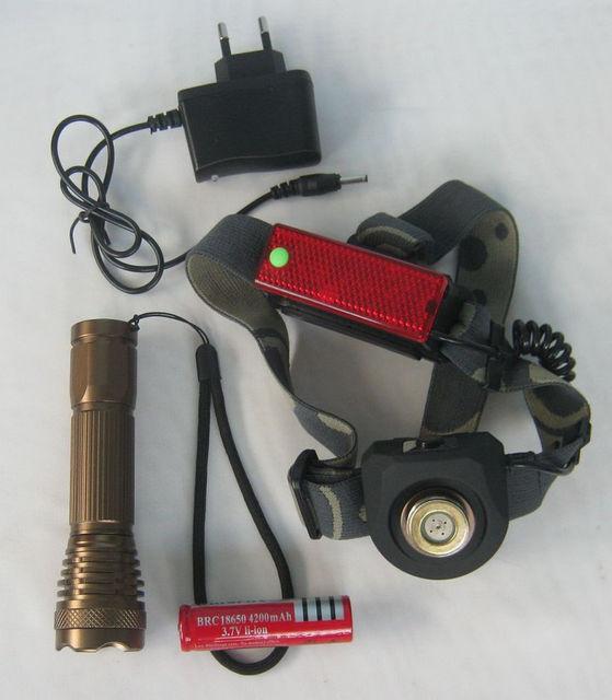 2 в 1! Налобный и ручной фонарь Bailong BL-6811, светодиодТ6