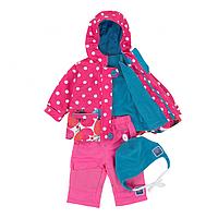 Демисезонный комплект 3 в 1 для девочки 6 мес., 2, 5-10 лет (куртка, брюки, кофта, шапка) ТМ Deux par Deux PF52-647