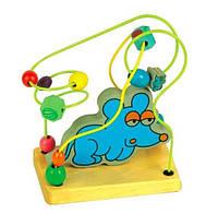 """Деревянная игрушка Пальчиковый лабиринт """"Мышка"""" с бусинками в картонной коробке ТМ """"Игрушки из дерева"""" Д112"""