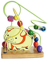 """Деревянная игрушка Пальчиковый лабиринт """"Свинка"""" с бусинками в картонной коробке ТМ """"Игрушки из дерева"""" Д114"""