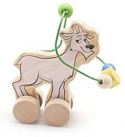 """Деревянная игрушка Пальчиковый лабиринт-каталка """"Козел"""" 2 в 1 ТМ """"Игрушки из дерева"""" Д360"""
