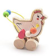"""Деревянная игрушка Пальчиковый лабиринт-каталка """"Курица"""" 2 в 1 ТМ """"Игрушки из дерева"""" Д363"""