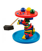 """Деревянная игрушка-стучалка Лесенка с шариками и молоточком ТМ """"Игрушки из дерева"""" Д236"""