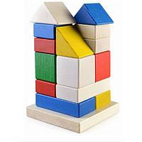 """Деревянная пирамидка-конструктор """"Дом"""" (16 деталей) в картонной коробке ТМ """"Руди"""" Ду-22"""