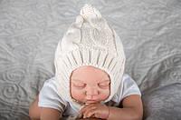 Детская вязаная шапочка бежевая на махре 0-3 мес., 3-6 мес. ТМ MagBaby 102817