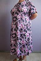 Женское домашнее платье хлопковое сиреневые лилии большие размеры