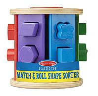 Детская деревянная игрушка сортер-каталка (Match & Roll Shape Sorter) ТМ Melissa & Doug MD19041
