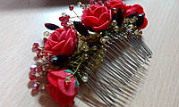 """Гребень в волосы """"Розы в самоцветах"""""""