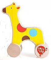 """Детская деревянная игрушка-каталка """"Жираф"""" в коробке ТМ Lucy&Leo LL120"""