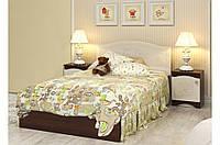 """Детская деревянная кровать """"Мишка 2"""" без ящиков (120x190 см) ТМ Вальтер-С Орех темный/Ваниль KM-4.12.1"""