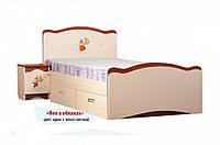 """Детская деревянная кровать """"Феи в облаках"""" 2 ящика (70x140 см) ТМ Вальтер-С Венге/Крем FY71"""