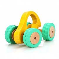 Детская деревянная машина Роли-Поли (LL009) ТМ Lucy&Leo желтая/оранжевая LL105