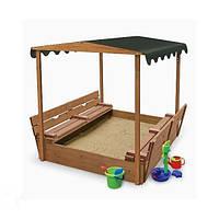 Детская деревянная песочница с тентом, крышкой и скамейками ТМ SportBaby Песочница - 4