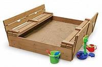 Детская деревянная песочница с крышкой и скамейками ТМ SportBaby Песочница - 3