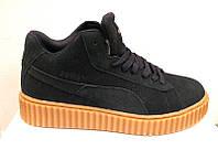 Кроссовки зимние чёрные унисекс Puma Rihanna Suede Pu0004