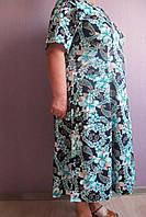 Женское домашнее платье хлопковое бирюзовые лилии большие размеры