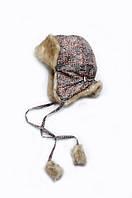 """Детская зимняя шапка для мальчика """"Схемы"""" с меховой отделкой ТМ Модный карапуз (коричневый) 03-00586-0"""