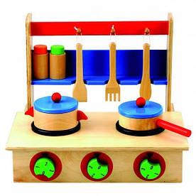 Детская игрушечная плита с посудкой (Деревянная игрушка ТМ Bino, 83721)