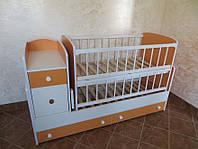 """Детская кроватка  """"Трансформер"""" с маятниковым механизмом, ящиками и комодом ТМ Колисковий світ Бело-оранжевый"""