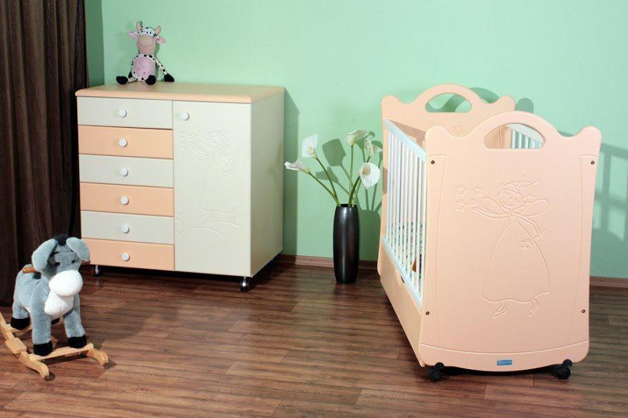 Детская кроватка для новорожденной «Принцесса» ТМ Pinocchio  (опции: ящик, регулировка бортика, маятник)