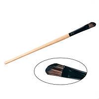 Кисть для век, скошенная, деревянная ручка