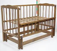 """Детская кроватка для новорожденных """"Малятко"""" без ящика ТМ Колисковий світ Орех лесной 100010032"""