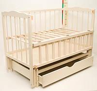 """Детская кроватка для новорожденных """"Малятко"""" с маятниковым механизмом и ящиком ТМ Колисковий світ Слон. кость"""