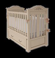 Детская кроватка для новорожденных «Leonardo» с маятниковым механизмом и ящиком для белья Вудман Слоновая кост