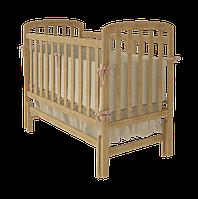 Детская кроватка для новорожденных «Teddy» с маятниковым механизмом и ящиком для белья ТМ Вудман Натуральный