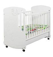 Детская кроватка для новорожденных «Зайчик со стразами» с колесиками ТМ Pinocchio