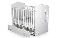 Детская кроватка для новорожденных «Тандем» с маятником и ящиком ТМ Pinocchio