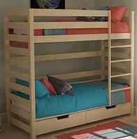 Детская подростковая кроватка двухъярусная из бука с дополнительном местом ТМ Вудман Натуральный