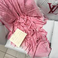 Палантин Louis Vuitton LV монограммы шерсть шелк розовый с белым