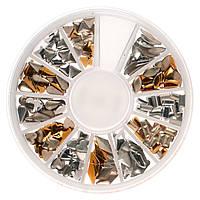 Металлический декор для ногтей в каруселе, золото серебро