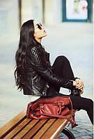 Женская Кожанная Модная курточка в черном Байкерском стиле