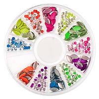 Металлический декор для ногтей в каруселе цветной