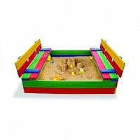 Детская цветная песочница из дерева с крышкой и сидениями ТМ SportBaby Песочница - 11
