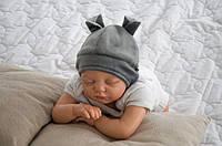 """Детская шапочка для новорожденного """"Бегемотик"""" (шапочка с ушками) ТМ MagBaby Серый 102921"""