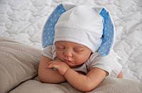 """Детская шапочка для новорожденного """"Зайка"""" голубая (шапочка с ушками) ТМ MagBaby Белый 102923"""