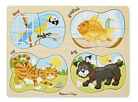 """Детские деревянные пазлы 4 в 1 """"Домашние животные"""" (4-in-1 Pets Peg) ТМ Melissa & Doug MD9861"""