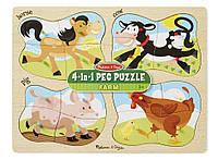 """Детские деревянные пазлы 4 в 1 """"Ферма"""" (4-in-1 Farm Peg) ТМ Melissa & Doug MD9858"""